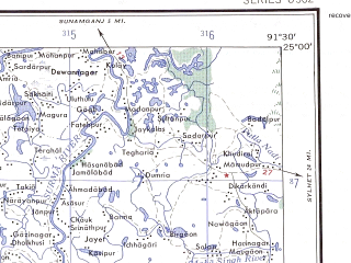 Reduced fragment of topographic map en--ams--250k--ng46-13--(1956)--N025-00_E090-00--N024-00_E091-30; towns and cities Manik Khali, Bajipur, Netrakona