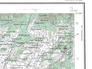 Reduced fragment of topographic map en--ams--250k--ng46-14--(1956)--N025-00_E091-30--N024-00_E093-00; towns and cities Chargram, Ramnagar, Chhimluang