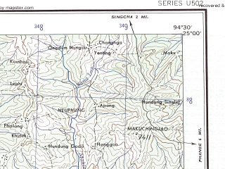 Reduced fragment of topographic map en--ams--250k--ng46-15--(1956)--N025-00_E093-00--N024-00_E094-30; towns and cities Lakhipur, Mulam, Oinnam