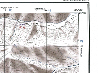 Reduced fragment of topographic map en--ams--250k--ng47-03--(1956)--N028-00_E099-00--N027-00_E100-30; towns and cities Ta-lin-tsun, Ya-tang, Hei-shih-to