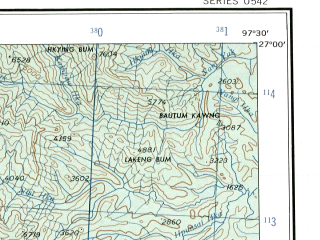 Reduced fragment of topographic map en--ams--250k--ng47-05--(1956)--N027-00_E096-00--N026-00_E097-30; towns and cities Chakrai Gahtawng, Janhtang, Kadung Ga