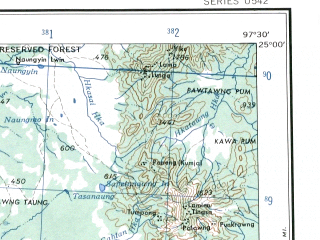 Reduced fragment of topographic map en--ams--250k--ng47-13--(1956)--N025-00_E096-00--N024-00_E097-30; towns and cities Tahona, Madangyang, Thamainggyi