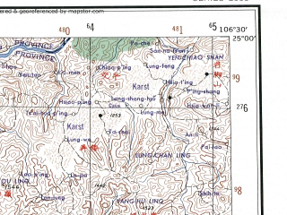 Reduced fragment of topographic map en--ams--250k--ng48-15--(1956)--N025-00_E105-00--N024-00_E106-30; towns and cities Wangdian