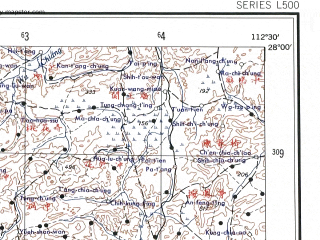 Reduced fragment of topographic map en--ams--250k--ng49-03--(1956)--N028-00_E111-00--N027-00_E112-30 in area of Shuifumiao; towns and cities Nan-yueh-miao, Pai-li-tang