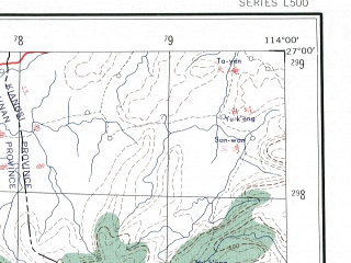 Reduced fragment of topographic map en--ams--250k--ng49-08--(1956)--N027-00_E112-30--N026-00_E114-00