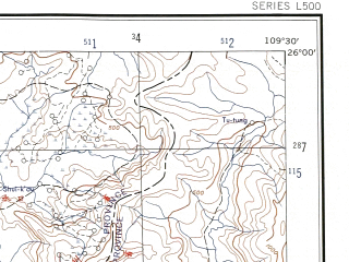 Reduced fragment of topographic map en--ams--250k--ng49-09--(1956)--N026-00_E108-00--N025-00_E109-30; towns and cities Ti-ya, Kuang-hsiung-tun