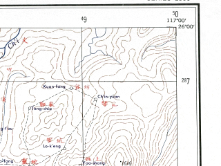 Reduced fragment of topographic map en--ams--250k--ng50-10--(1956)--N026-00_E115-30--N025-00_E117-00