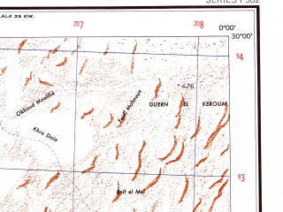 Reduced fragment of topographic map en--ams--250k--nh30-12--(1956)--N030-00_W001-30--N029-00_E000-00 in area of Sebkha El Mellah; towns and cities Charouine