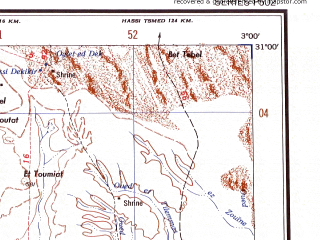 Reduced fragment of topographic map en--ams--250k--nh31-06--(1956)--N031-00_E001-30--N030-00_E003-00