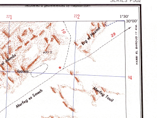 Reduced fragment of topographic map en--ams--250k--nh31-09--(1956)--N030-00_E000-00--N029-00_E001-30; towns and cities Oulad Said, Sidi Ali Ou Brahim, El Kef