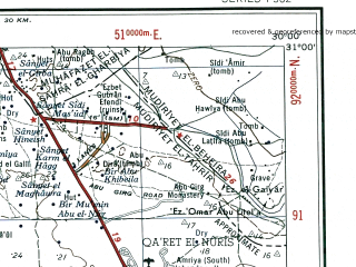 Reduced fragment of topographic map en--ams--250k--nh35-08--(1956)--N031-00_E028-30--N030-00_E030-00; towns and cities Zawyet Sidi Abd El-ati