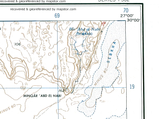 Reduced fragment of topographic map en--ams--250k--nh35-10--(1956)--N030-00_E025-30--N029-00_E027-00; towns and cities Qara