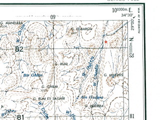 Reduced fragment of topographic map en--ams--250k--nh36-15--(1956)--N029-00_E033-00--N028-00_E034-30; towns and cities Ras Shu Kheir