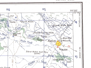 Reduced fragment of topographic map en--ams--250k--nh42-03--(1956)--N032-00_E069-00--N031-00_E070-30; towns and cities Jhok Mangal, Kulachi, Lakaband