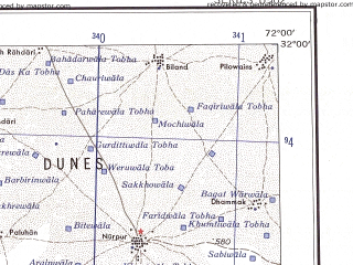 Reduced fragment of topographic map en--ams--250k--nh42-04--(1956)--N032-00_E070-30--N031-00_E072-00; towns and cities Panjgirain, Paroa, Vihowa