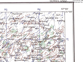 Reduced fragment of topographic map en--ams--250k--nh42-05--(1956)--N031-00_E066-00--N030-00_E067-30; towns and cities Kurram, Malezai, Pishin