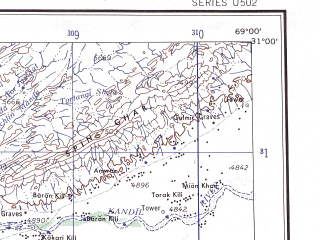 Reduced fragment of topographic map en--ams--250k--nh42-06--(1956)--N031-00_E067-30--N030-00_E069-00; towns and cities Pui, Chinijan, Dirgi