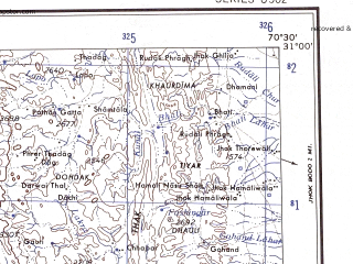 Reduced fragment of topographic map en--ams--250k--nh42-07--(1956)--N031-00_E069-00--N030-00_E070-30; towns and cities Zikria, Bala Dhaka, Kharat