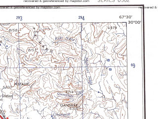 Reduced fragment of topographic map en--ams--250k--nh42-09--(1956)--N030-00_E066-00--N029-00_E067-30; towns and cities Dirao, Kaneti, Kolpur
