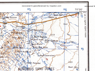 Reduced fragment of topographic map en--ams--250k--nh42-11--(1956)--N030-00_E069-00--N029-00_E070-30; towns and cities Hajipur, Kardh, Kohlu
