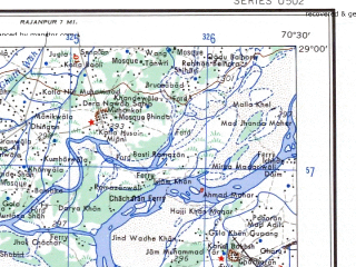 Reduced fragment of topographic map en--ams--250k--nh42-15--(1956)--N029-00_E069-00--N028-00_E070-30; towns and cities Ghauspur, Ubauro, Mirpur