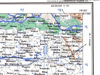 Reduced fragment of topographic map en--ams--250k--nh43-07--(1956)--N031-00_E075-00--N030-00_E076-30; towns and cities Bagha, Purana, Khanni