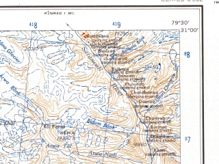 Reduced fragment of topographic map en--ams--250k--nh44-05--(1956)--N031-00_E078-00--N030-00_E079-30; towns and cities Uttarkashi, Aindi, Bhatgaon