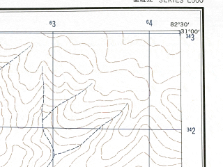 Reduced fragment of topographic map en--ams--250k--nh44-07--(1956)--N031-00_E081-00--N030-00_E082-30 in area of Mapam Yumco, La'nga Co; towns and cities Nyogze, Peng-li-ssu, Siar