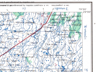 Reduced fragment of topographic map en--ams--250k--nh44-13--(1956)--N029-00_E078-00--N028-00_E079-30 in area of Ganga; towns and cities Bahjoi, Bilari, Bilsa