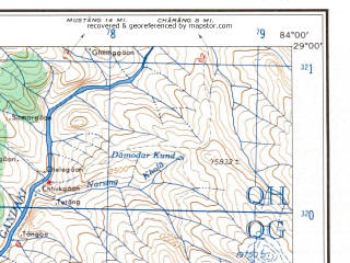 Reduced fragment of topographic map en--ams--250k--nh44-16--(1956)--N029-00_E082-30--N028-00_E084-00; towns and cities Bahakot, Bega, Ramkot