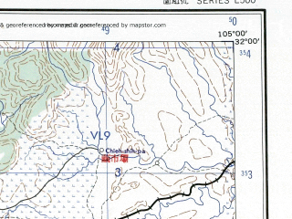 Reduced fragment of topographic map en--ams--250k--nh48-02--(1956)--N032-00_E103-30--N031-00_E105-00; towns and cities Zhicheng, Beichuan