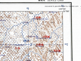 Reduced fragment of topographic map en--ams--250k--nh48-06--(1956)--N031-00_E103-30--N030-00_E105-00 in area of Tuo Jiang; towns and cities Chengdu