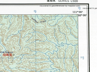 Reduced fragment of topographic map en--ams--250k--nh49-02--(1956)--N032-00_E109-30--N031-00_E111-00; towns and cities Shih-pu-sa