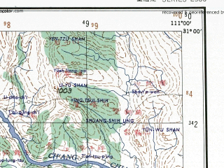 Reduced fragment of topographic map en--ams--250k--nh49-06--(1956)--N031-00_E109-30--N030-00_E111-00; towns and cities Lung-ping, Hua-chiao