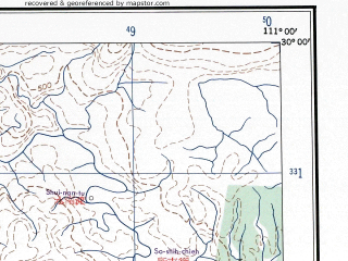 Reduced fragment of topographic map en--ams--250k--nh49-10--(1956)--N030-00_E109-30--N029-00_E111-00; towns and cities Hsin-chai, Chiu-li-po