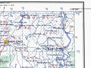 Reduced fragment of topographic map en--ams--250k--nh50-07--(1956)--N031-00_E117-00--N030-00_E118-30 in area of Baidang Lake