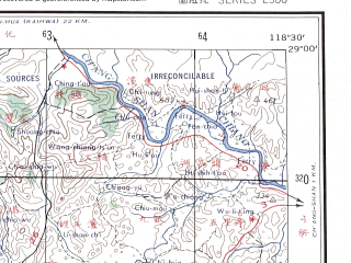 Reduced fragment of topographic map en--ams--250k--nh50-15--(1956)--N029-00_E117-00--N028-00_E118-30