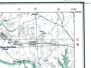 Reduced fragment of topographic map en--ams--250k--ni30-13--(1956)--N033-00_W006-00--N032-00_W004-30; towns and cities Ait Khouia Assaine, El Had, Zaouia Ech Cheikh