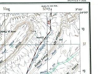 Reduced fragment of topographic map en--ams--250k--ni31-10--(1956)--N034-00_E001-30--N033-00_E003-00; towns and cities Taouiala