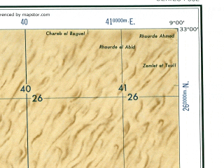 Reduced fragment of topographic map en--ams--250k--ni32-14--(1956)--N033-00_E007-30--N032-00_E009-00