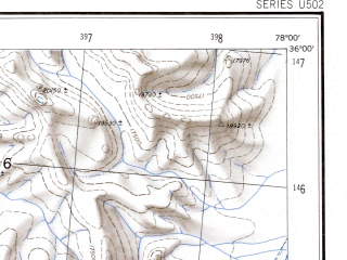 Reduced fragment of topographic map en--ams--250k--ni43-04--(1956)--N036-00_E076-30--N035-00_E078-00; towns and cities Chapo, Goma, Khorkondus