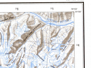 Reduced fragment of topographic map en--ams--250k--ni43-08--(1956)--N035-00_E076-30--N034-00_E078-00; towns and cities Ampultun, Machakka, Arganglas