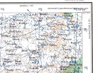 Reduced fragment of topographic map en--ams--250k--ni43-13--(1956)--N033-00_E072-00--N032-00_E073-30; towns and cities Nurpur, Roda, Midh Banjha
