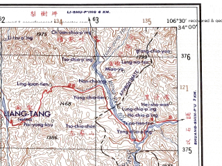 Reduced fragment of topographic map en--ams--250k--ni48-11--(1956)--N034-00_E105-00--N033-00_E106-30; towns and cities Kang Xian, Ching-chia-ping, Ming-yang-chen