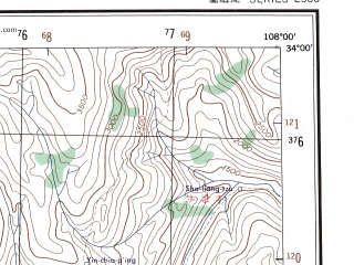 Reduced fragment of topographic map en--ams--250k--ni48-12--(1956)--N034-00_E106-30--N033-00_E108-00; towns and cities Baimianxia, Longtingpu, Lung-kou