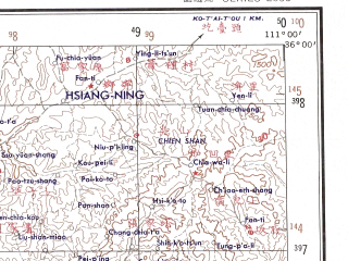 Reduced fragment of topographic map en--ams--250k--ni49-02--(1956)--N036-00_E109-30--N035-00_E111-00; towns and cities Chai-tien