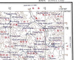 Reduced fragment of topographic map en--ams--250k--ni50-03--(1956)--N036-00_E117-00--N035-00_E118-30; towns and cities Ta-chung-tsun