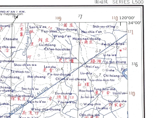 Reduced fragment of topographic map en--ams--250k--ni50-12--(1956)--N034-00_E118-30--N033-00_E120-00 in area of Huaishu He; towns and cities Shipu