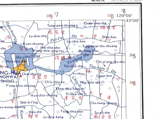 Reduced fragment of topographic map en--ams--250k--ni50-16--(1956)--N033-00_E118-30--N032-00_E120-00 in area of Chu He; towns and cities Nanjing