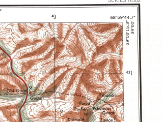 Reduced fragment of topographic map en--ams--250k--nj42-06--(1956)--N039-00_E067-30--N038-00_E069-00; towns and cities Dushanbe, Denau, Regar, Gissar, Oktyabr'skiy